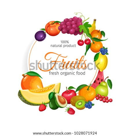 Fruits banner. Vector Design Healthy Food. Raspberries, Strawberries, Grapes, Currants and Blueberries. Lemon, Peach, Apple or Pear. Orange or Watermelon , Avocado and Melon
