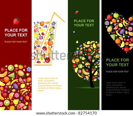 Fruits banners vertical for your design
