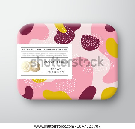 Fruits Bath Cosmetics Box. Vector Wrapped Paper Container with Care Label Cover. Packaging Design. Modern Typography and Hand Drawn Passion Fruit. Abstract Camo Background Pattern Layout. Isolated.