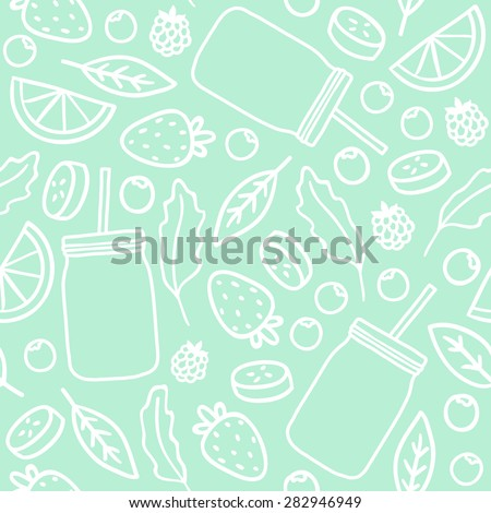 Fruits & berries and smoothie jars outline seamless pattern