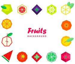 Fruits berries in geometric style. Vector illustration. Polygonal fruits. Raspberry grapefruit strawberry Apple orange pear tomato lemon kiwi lime blueberry BlackBerry watermelon. Collection of fruits