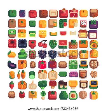 fruits, berries, vegetables, mushrooms and nuts icons set, 16x16 resolution, pixel art style vector illustration isolated background
