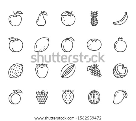 Fruits, berry flat line icons set. Orange, strawberry, pineapple, mango, lemon, kiwi, apple, grape vector illustrations. Outline signs for organic food store. Pixel perfect. Editable Strokes.