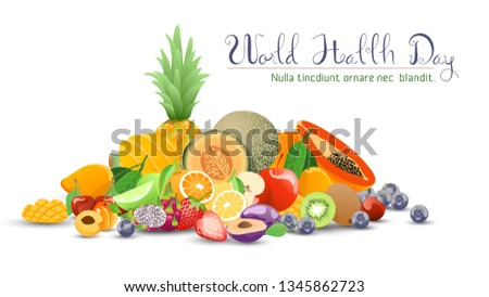 Fruits collection for world health day. #1345862723