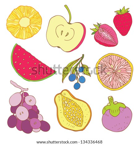 Fruits collection. Set of tropical fruit. Hand drawn Vector illustration.