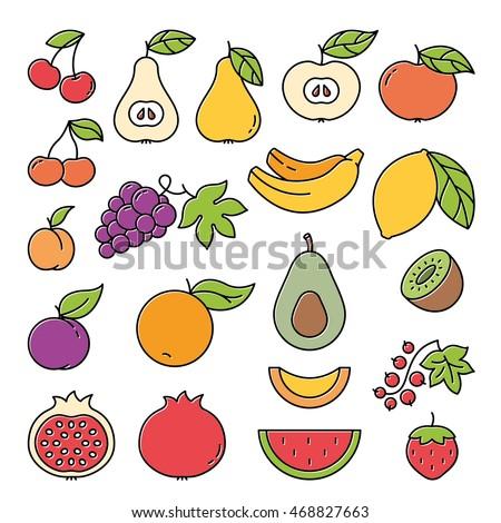 Fruits Colorful Outline Black Icon Set. Vector illustration.