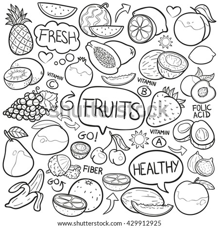 Fruits Doodle Icon Hand Made
