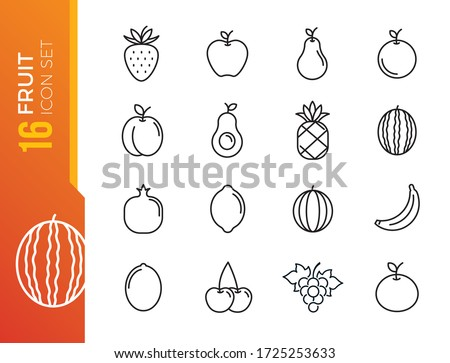 Fruits, exotic fruits, vegetarian - minimal thin line web icon set. Included the simple vector icons as mango, durian, rambutan, guava, tamarind, jackfruit. Outline icons collection