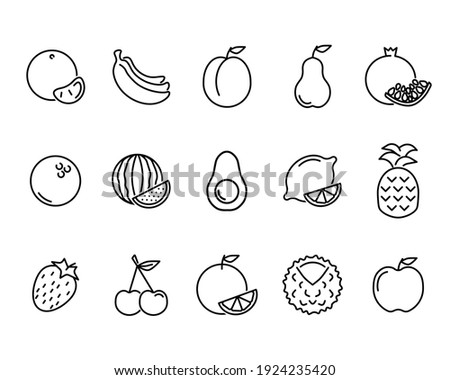 Fruits flat icon. Pictogram for web. Line stroke. Fruits isolated on white background. Vector eps10 set