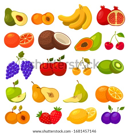 Fruits flat icons, berries and tropical fruits
