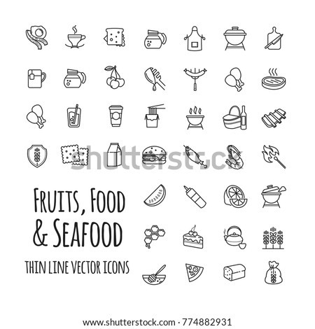 fruits, food and seafood outline vector icons set for your design