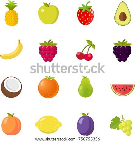 fruits fruit icon set flat design isolated on white background