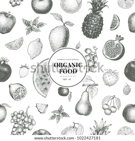 Fruits hand drawn vector seamless pattern. Banner template. Vintage Fruit engraved style background. Can be use for menu, label, packaging, farm market products.
