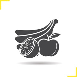 Fruits icon. Drop shadow banana, orange and apple silhouette symbol. Still life. Isolated vector