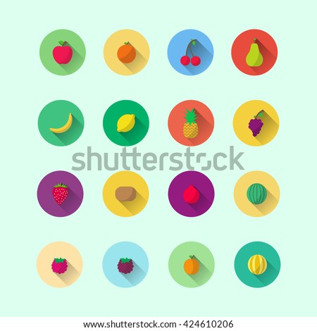 fruits icon. fruits flat. fruits vector.