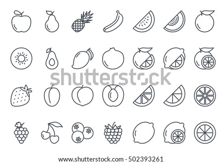 Fruits Icon Set Food Outlined