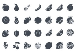 Fruits Icon Set Outlined food silhouette