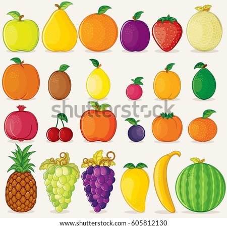 Fruits Icons Flat Colors on Isolated on Background