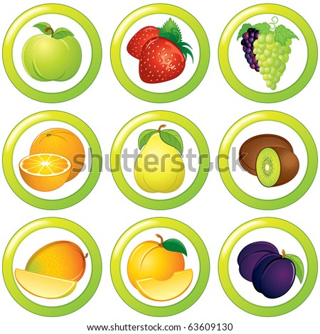 Fruits icons, labels or stickers - colorful vector collection