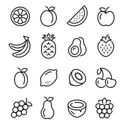 Fruits icons set. Collection of linear web icons, such as pineapple, banana, kiwi, orange, pear and others different fruits. Editable vector stroke.