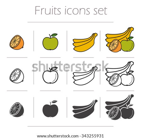 fruits icons set green color