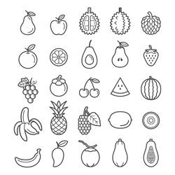 Fruits Icons. Vector Illustration.