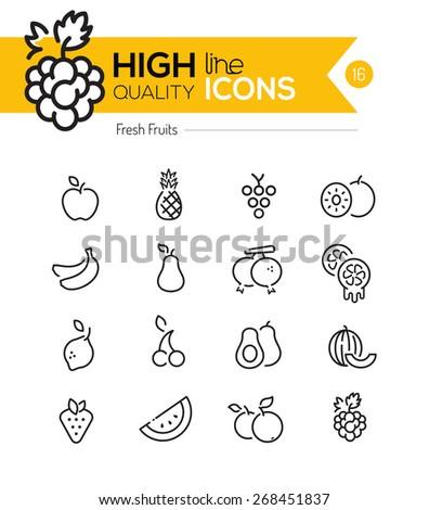 fruits line icons including