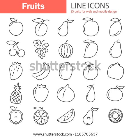 Fruits line icons set #1185705637