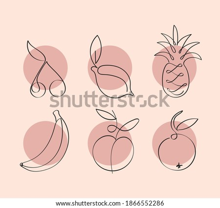 Fruits one continuous line drawing art illustration. Single line drawing of fruit. Minimalistic sketch for logo, posters, wall art, healthy concept