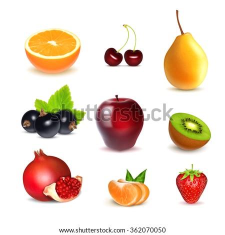 fruits orange  cherry  pear