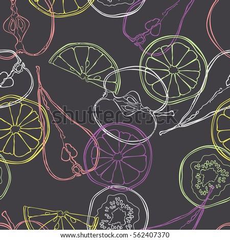 Fruits: orange, lemon, apple, pear, kiwi. Fruit slices. Seamless vector pattern (background). Color print.