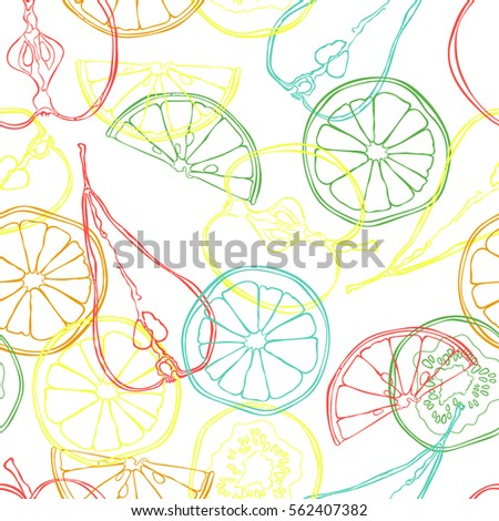 Fruits: orange, lemon, apple, pear, kiwi. Fruit slices. Seamless vector pattern (background). Color print.