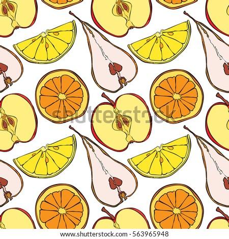 Fruits: orange, lemon, kiwi, apple and pear. Fruit slices. Seamless vector pattern (background).