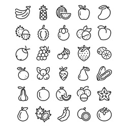 fruits outline icon. vector illustration. Isolated on white background.
