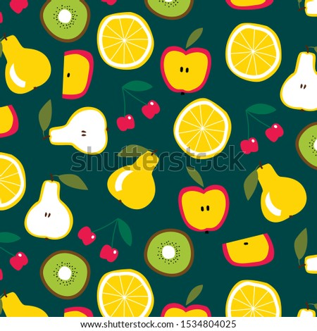 fruits pattern on dark green