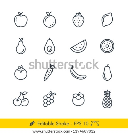 Fruits Related Icons / Vectors Set - In Line / Stroke Design | Contains Such Apple, Orange, Strawberry, Lemon, Pear, Avocado, Watermelon, Kiwi, Grape, Cherry, Papaya, Banana, Pineapple, and more