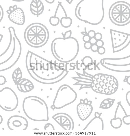 Fruits seamless vector pattern monochrome grey