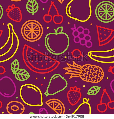 Fruits seamless vector pattern on purple