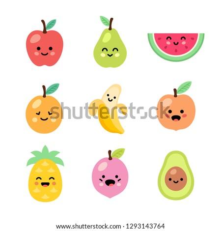 Fruits set. Kawaii