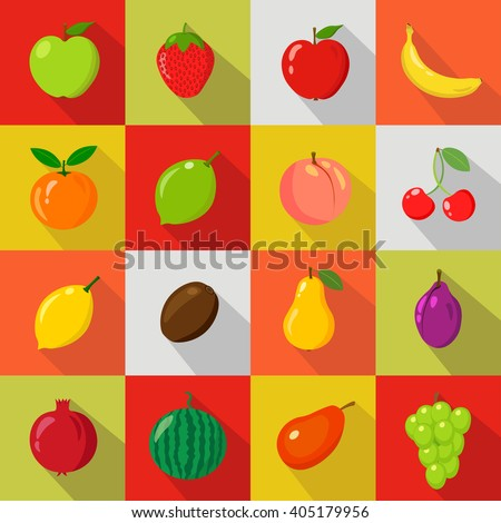 Fruits Set of flat icons.fresh, natural fruits.Isolated. Cartoon style. Vegetarian. Market. Collection. Vector illustration.