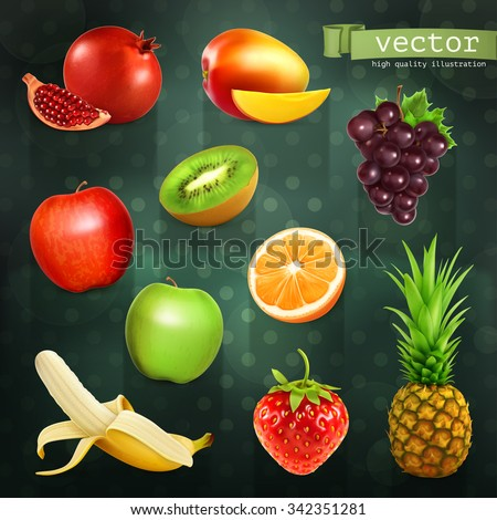 Fruits, set of vector illustrations on dark background