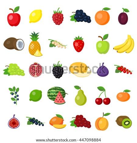 fruits set on white fruits