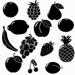 fruits silhouettes set. 13 fruits vectors