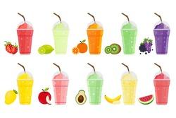 Fruits Smoothie. Strawberry, Lemon, Orange, Kiwi, Grape, Berry, Mango, Apple, Avocado, Banana and Watermelon shake. Fresh drink menu, Juice for healthy life.