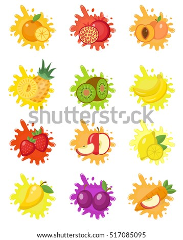 Fruits splash set of labels. Fruit splashes, drops emblem. Splash and blot kit. Vector illustration