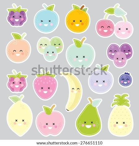 fruits stitch grey background