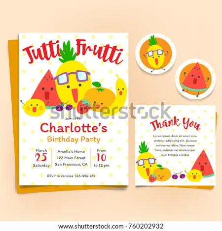 Fruits theme Birthday Invitation Set, Tutti Frutti theme Foto d'archivio ©