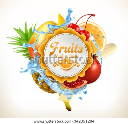 Fruits vector label