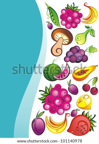 Fruits ,vegetables and berries vector background