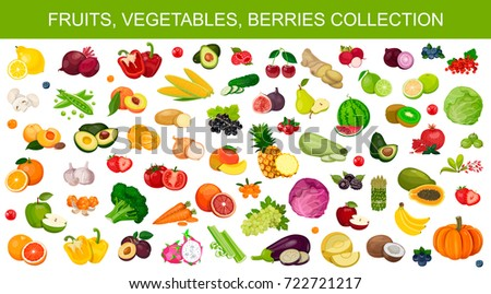 Fruits, vegetables, berries, large set and collection, isolated on white background icons, vector.